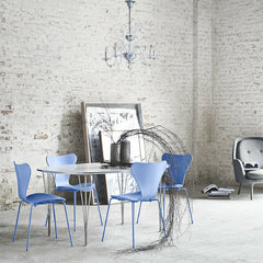 Trieste Blue Monochrome Series 7 Chairs in Room with Piet Hein Span Leg Table Arne Jacobsen Fritz Hansen