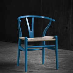 Turquoise Blue Wegner Wishbone Chair in Black Room