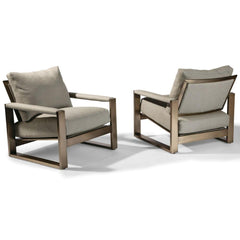Thayer Coggin Chunky Milo Lounge Chair Brushed Bronze 1372 Front and Back