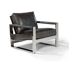Thayer Coggin Chunky Milo Lounge Chair Slate Leather Polished Stainless Steel