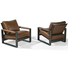 Thayer Coggin Chunky Milo Lounge Chair Brown Leather Dark Bronze 1372 Front and Back