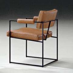 Milo Baughman Design Classic Dining Chair 1188 Black Frame with Cognac Leather Back