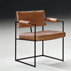 Milo Baughman Design Classic Dining Chair 1188 Black Frame with Cognac Leather