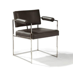 Thayer Coggin Milo Baughman Design Classic Dining Chair with Polished Stainless Steel Frame