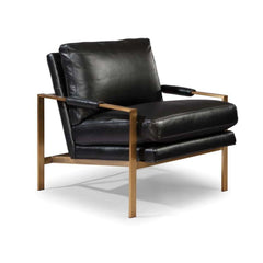 Thayer Coggin Milo Baughman 951 Design Classic Lounge Chair Black Leather with Bronze Frame