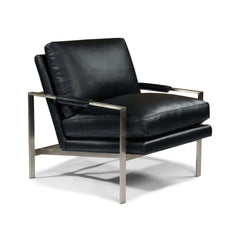 Thayer Coggin Milo Baughman 951 Design Classic Lounge Chair Black Leather with Brushed Nickel Frame