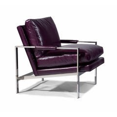 Thayer Coggin Milo Baughman 951 Design Classic Lounge Chair Plum Leather with Polished Stainless Steel Frame