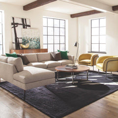 Thayer Coggin Milo Baughman 855 Design Classic Sectional Sofa in loft with Grasshopper Lamp and Rod chairs