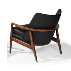 Thayer Coggin Milo Baughman Draper Chair Walnut with Black Leather Back