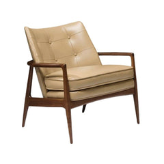 Thayer Coggin Milo Baughman Draper Lounge Chair Tan Leather with Walnut Frame