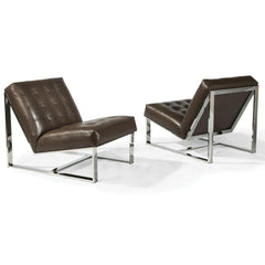 Thayer Coggin Milo Baughman EZ Rider Lounge Chair Leather Front and Back