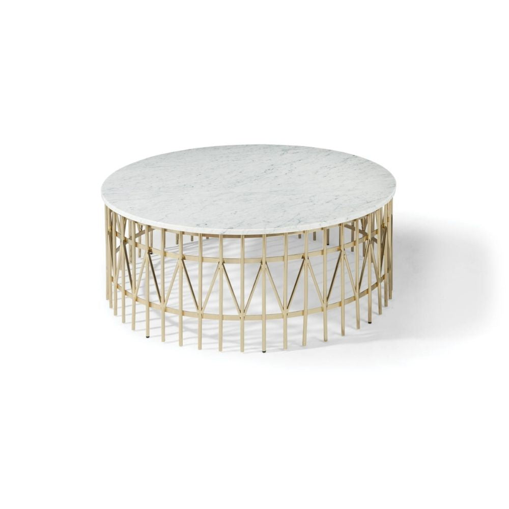 Thayer Coggin Milo Baughman Nikolas Kage Cocktail Table Polished Carrara Marble with Satin Brass Base