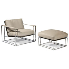 Thayer Coggin Milo Baughman Sling Ottoman and chair white leather with polished stainless steel