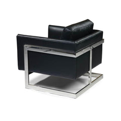 Thayer Coggin Milo Baughman T-Back Lounge Chair Black Leather with Polished Stainless Steel