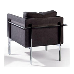 Thayer Coggin Milo Baughman Drop-In ChairPolished Stainless Steel Back