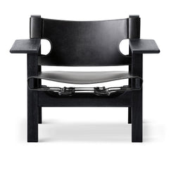 The Spanish Chair by Børge Mogensen for Fredericia in Black Saddle Leather and Black Lacquered Oak Frame
