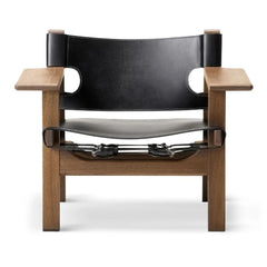 The Spanish Chair by Børge Mogensen for Fredericia in Black Leather and Oiled Smoked Oak