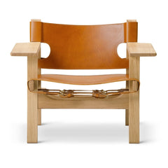 The Spanish Chair by Børge Mogensen for Fredericia in Cognac Leather and Lacquered Oak Frame