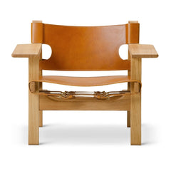 The Spanish Chair by Børge Mogensen for Frederician in Cognac Saddle Leather with Oiled Oak Frame