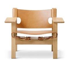 The Spanish Chair by Børge Mogensen for Fredericia in Natural Saddle Leather and Lacquered Oak Frame