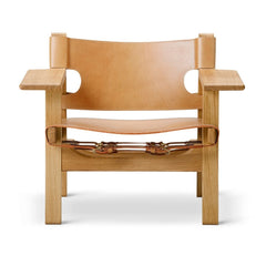 The Spanish Chair by Børge Mogensen for Fredericia in Natural Saddle Leather and Oiled Oak Frame