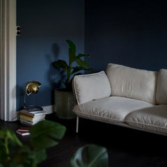Brass Flowerpot Lamp by Verner Panton in room with Cloud Sofa by Luca Nichetto for And Tradition Copenhagen