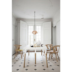 Verner Panton Flower Pot Pendant VP1 Copper over Dining Table with InBetween Chairs & Tradition
