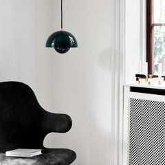 Verner Panton VP1 Pendant Dark Green with Catch Chair by And Tradition Copenhagen