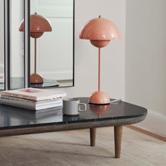 Verner Panton VP3 Flowerpot Lamp in Beige Red Styled with Fly Table And Tradition Copenhagen