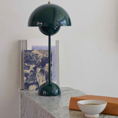 Verner Panton VP3 Flowerpot Lamp in Dark Green Styled And Tradition Copenhagen