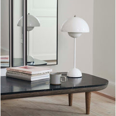 Verner Panton VP3 Flowerpot Lamp in White Styled with Fly Table And Tradition Copenhagen