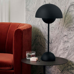 Verner Panton VP3 Flowerpot Lamp in Matte Black Styled with Loafer Chair And Tradition Copenhagen