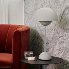Verner Panton VP3 Flowerpot Lamp in Matte Grey Styled with Loafer Chair And Tradition Copenhagen