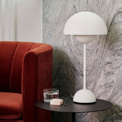 Verner Panton VP3 Flowerpot Lamp in Matte White Styled with Loafer Chair And Tradition Copenhagen