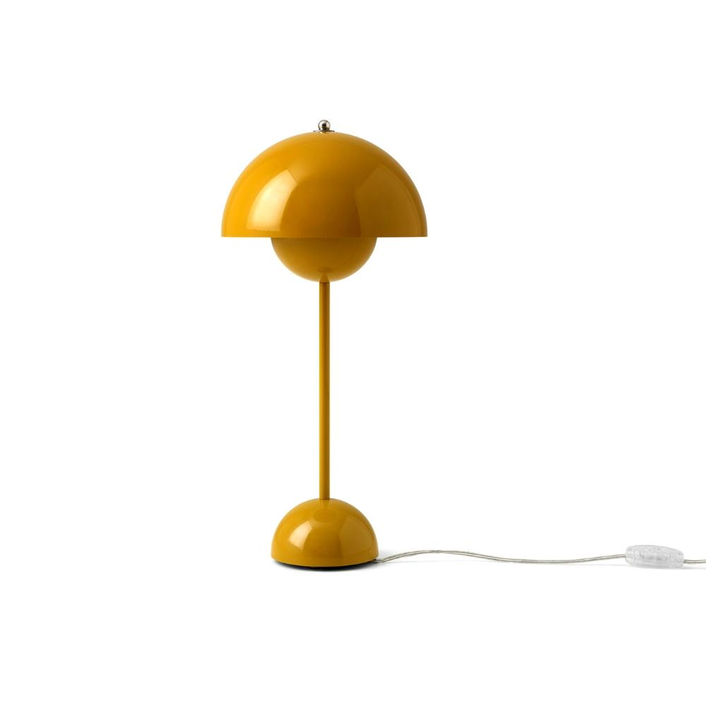 Verner Panton VP3 Flowerpot Lamp in Mustard Yellow And Tradition Copenhagen