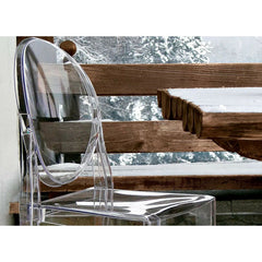 Crystal Victoria Ghost Chair by Philippe Starck for Kartell used Outdoors in Snow