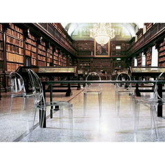 Crystal Victoria Ghost Chairs by Philippe Starck for Kartell in a Library