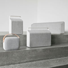Vifa Nordic Soundspeaker Collection in Pebble Grey (from top left: Oslo, Stockholm, Copenhagen, Helsinki)