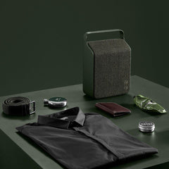 Vifa Oslo Speaker Pine Green with Men's Travel Goods