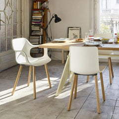 Vitra HAL Wood Chairs in room with Prouvé EM Table