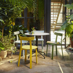Vitra All Plastic Chairs by Jasper Morrison with Bouroullec Belleville Bistro Table
