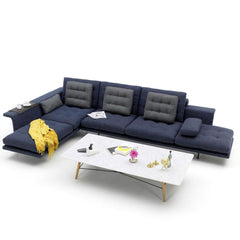 Vitra Antonio Citterio Grand Sofá in Midnight Blue in Situ with Mustard Yellow Eames Blanket and Coffee Table