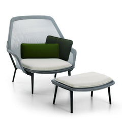 Vitra Bouroullec Slow Chair and Ottoman Blue Green Front