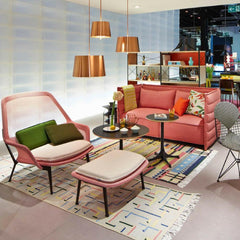 Vitra Bouroullec Slow Chair and Ottoman Red Cream in Room with Alcove Sofa