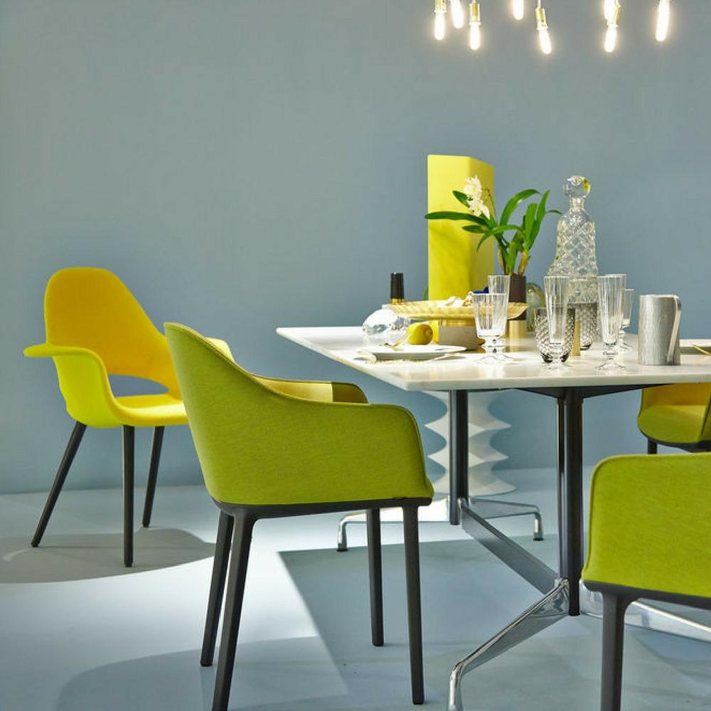 Eames Saarinen Organic Chair In Bright Yellow In Room With Bouroullec  Softshell Dining Chairs Salone Di