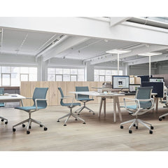 Vitra Physix Chairs by Alberto Light Blue Mesh with Light Grey Frame in Office