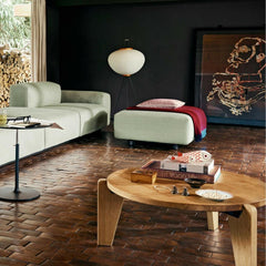 Vitra Prouve Gueridon Bas Coffee Table in room with Jasper Morrison Soft Sofa