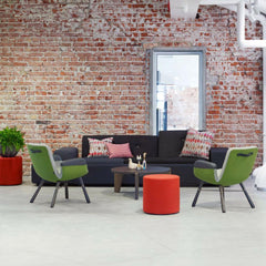 Vitra Hella Jongerius East River Chairs and Polder Sofa in room with Gueridon Bas Table