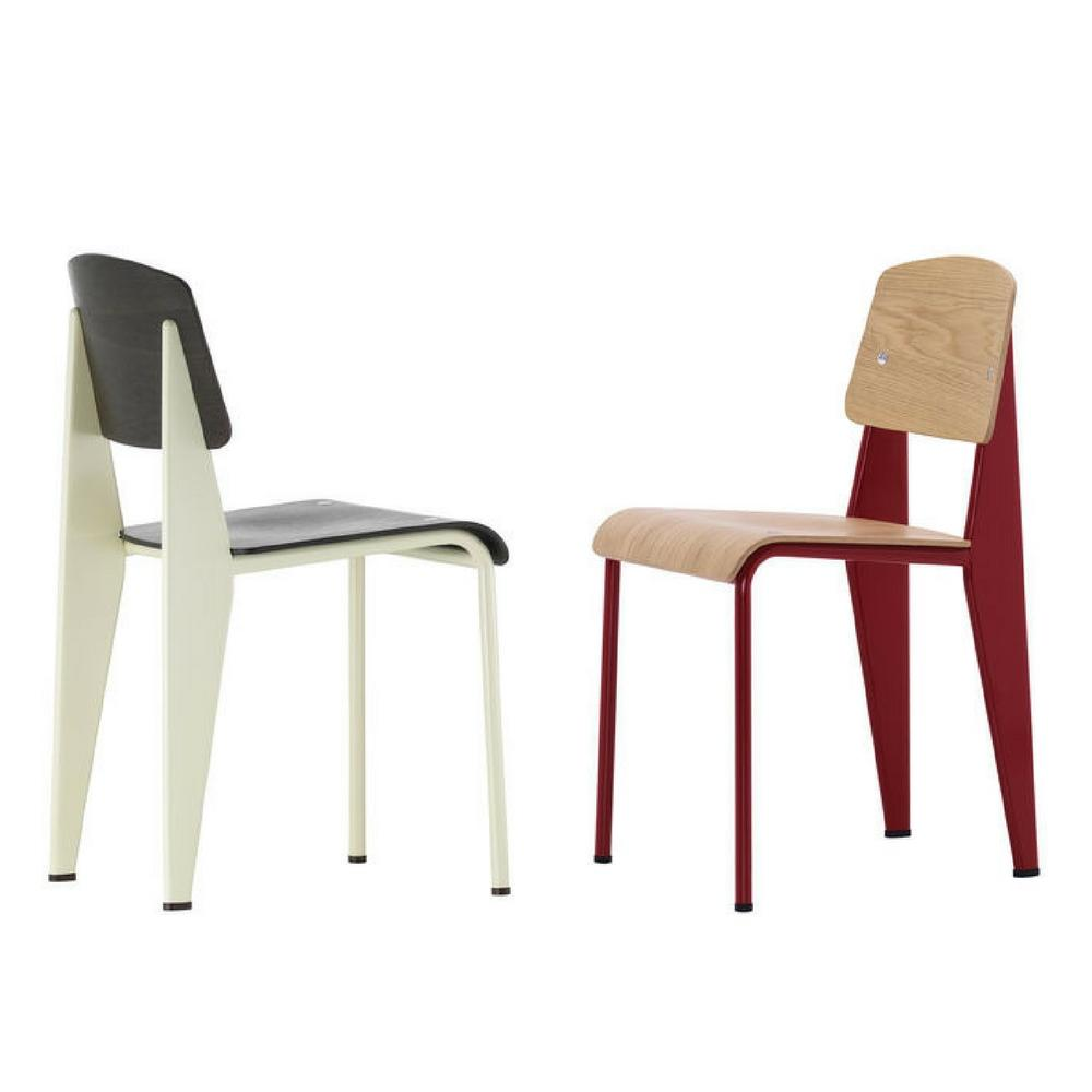 Vitra Prouvé Standard Chairs Ecru And Japanese Red
