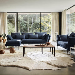 Vitra Suita Sofa by Antonio Citterio Dark Blue with Black Base in Living room